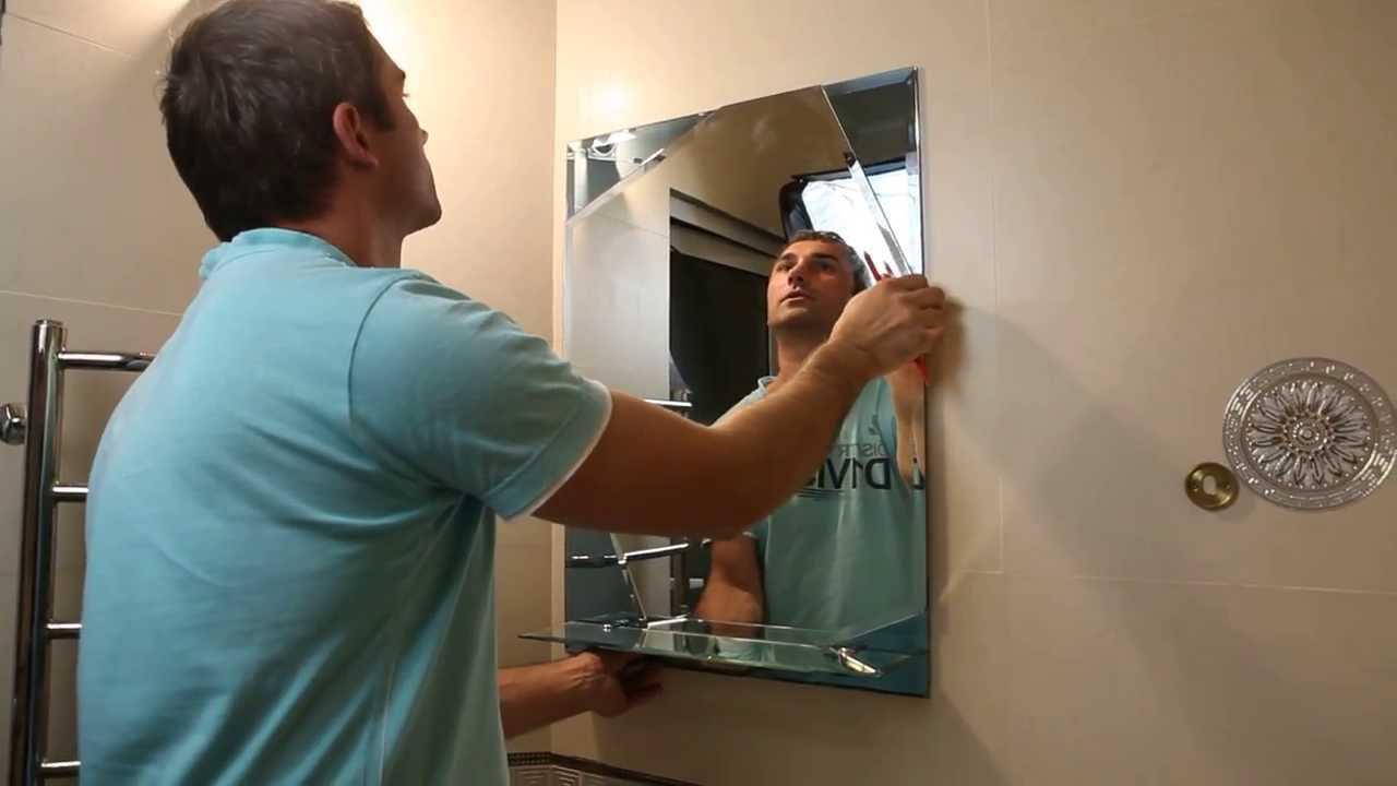 приклеить зеркало