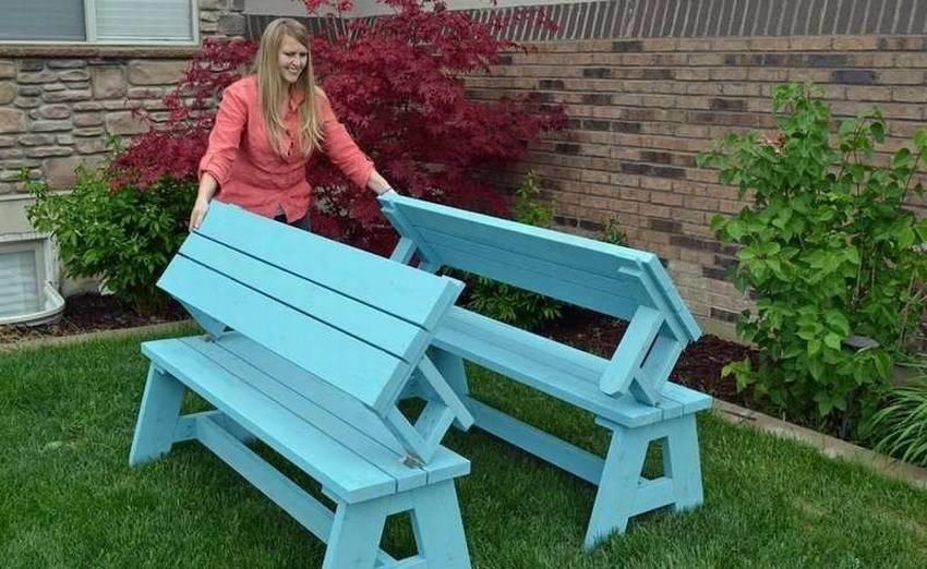 стол скамейка в собранном виде