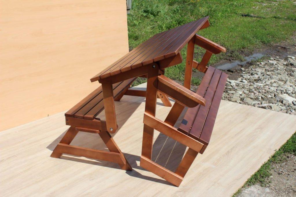стол трансформер с двумя лавками