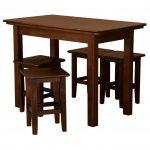 кухонный стол кроичневый с табуретками