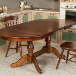 кухонный стол деревянный овальный