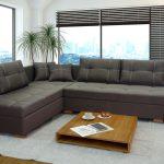 диван угловой темный серый