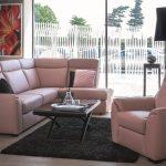 диван угловой розовый с креслом