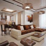 диван угловой бежевый с коричневым с