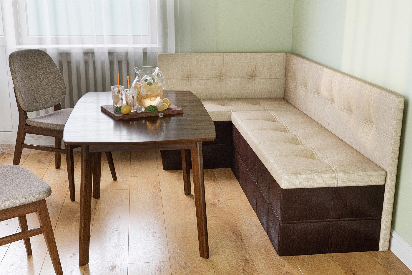 диван с ящиками на кухне