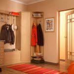угловой шкаф в прихожей с оранжевым ковром