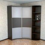 угловой шкаф серый с коричневым