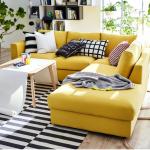 угловой диван желтый