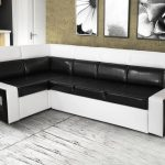 угловой диван черно-белый