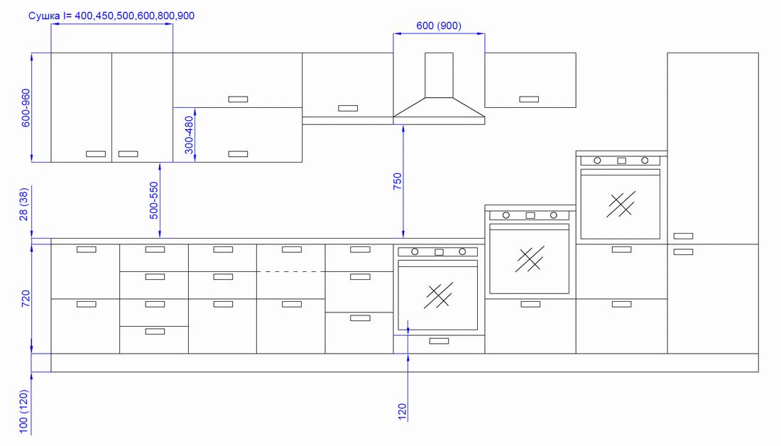высота шкафов на кухне