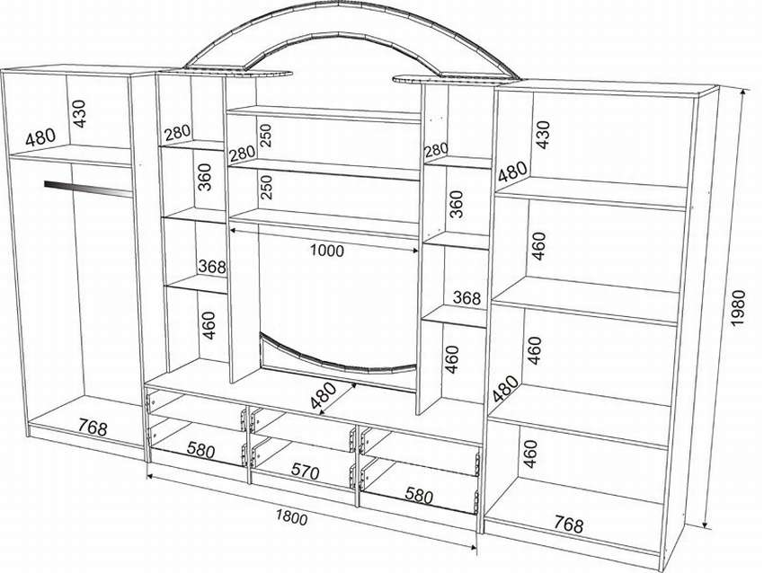 чертеж корпусной мебели
