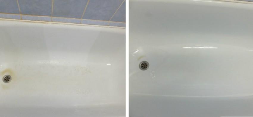 чистка ванны до и после