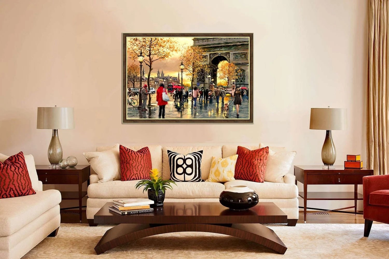 картина над диваном в классическом стиле
