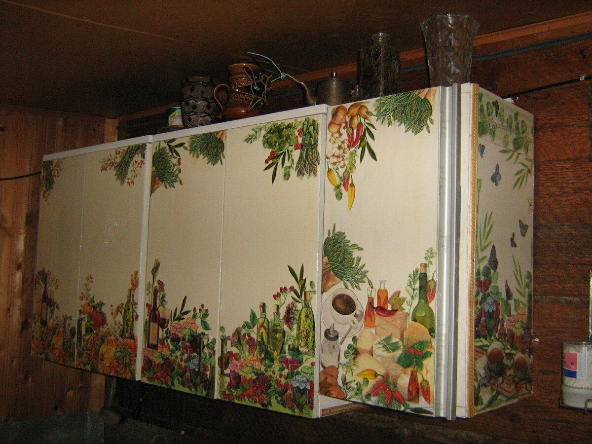 декупаж кухонного шкафа