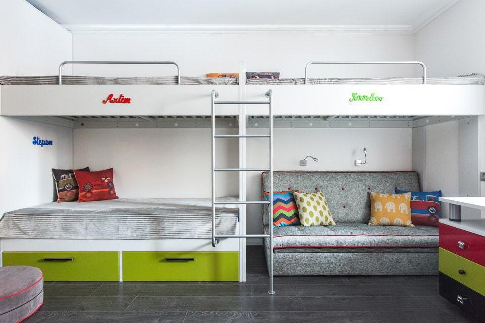 кровать для троих детей в интерьере