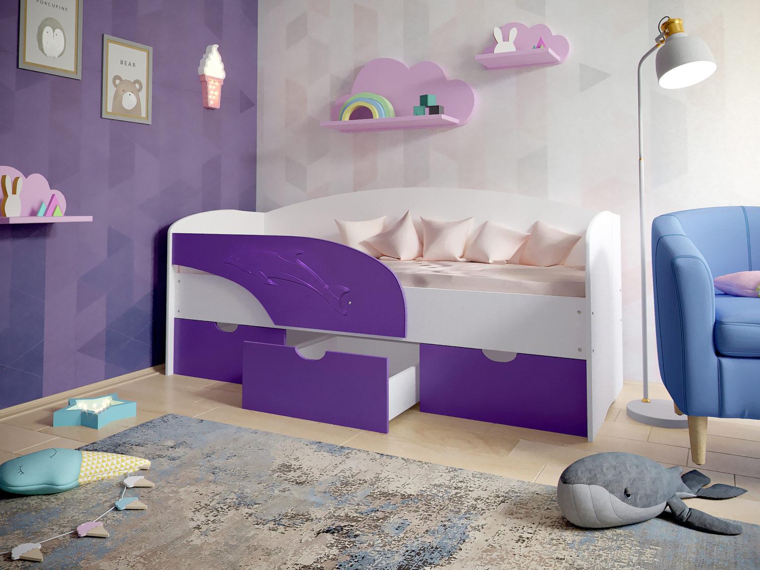 детская кровать дельфин фиолетовая