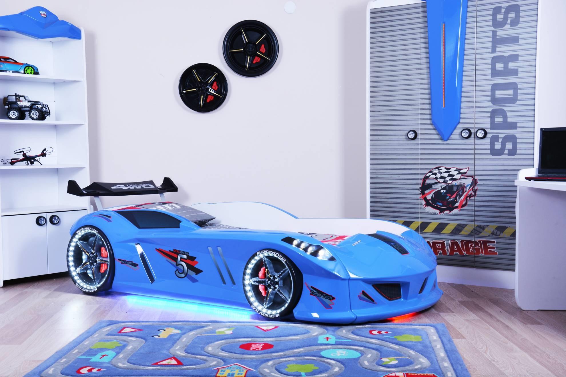 детская кровать машина синяя