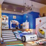 детская кровать-машина с лестницей