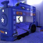 детская кровать-машина синий паровоз