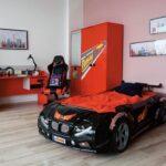 детская кровать-машина черная с красным