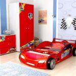 детская кровать-машина красная гоночная