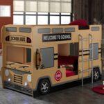 детская кровать-машина школьный автобус