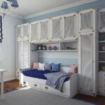 детская морская мебель диван со шкафами