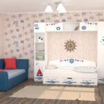 детская морская мебель диван с кораблями