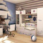 детская морская мебель стена в полоску