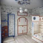 детская морская мебель руль на потолке