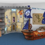 детская морская мебель с синим ковром