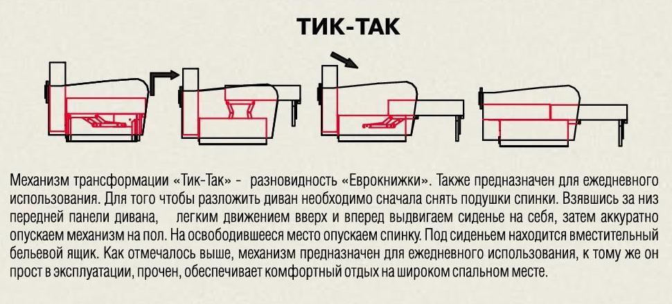 диван с механизмом тик так схема