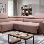 угловой диван розовый