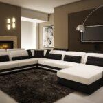 угловой диван бело-черный