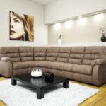 угловой диван коричневый