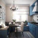 синяя кухня с диваном