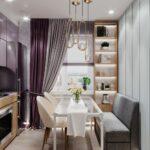 диван и стеклянный стол на кухне