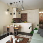 диван с серыми подушками на кухне