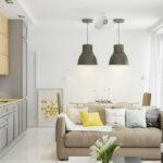 светло-коричневый диван на кухне