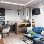 синий диван на кухне