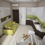 зеленый диван на кухне