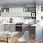 кухня 12 м с диваном серая