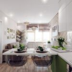 кухня 12 м с диваном зеленая