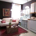 кухня 12 м с диваном и ковром