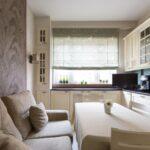 кухня 12 м с диваном и телевизором