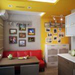 кухня 12 м с диваном красным