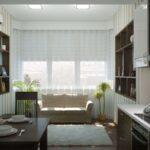 кухня 12 м с диваном и пальмой