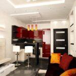 кухня 12 м с диваном красная