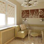 кухня 12 м с диваном и картиной