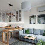 кухня 12 м с диваном голубым
